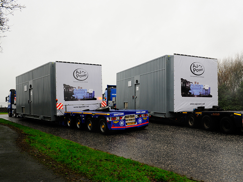 2 x 2.25MW containerised sets leave the AJ Power factory
