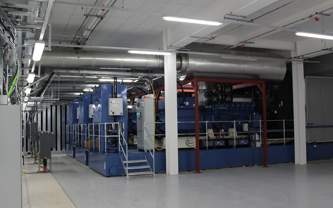 Inside the generating set plant room in data centre