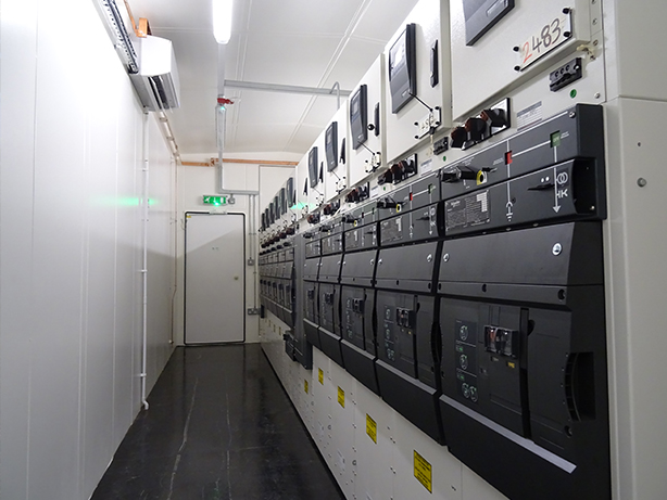 Inside switchgear container