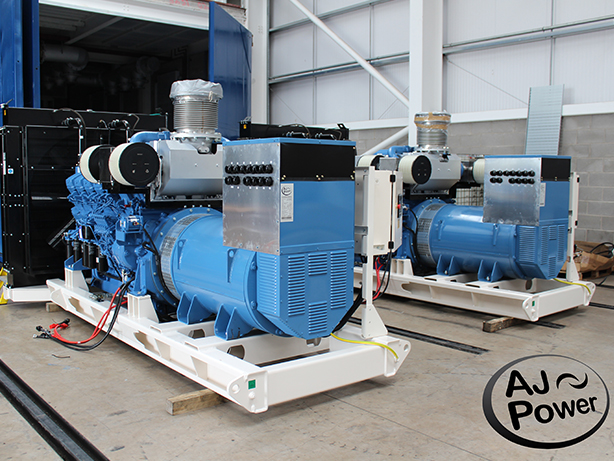 The generating sets pictured before test at the AJ Power factory