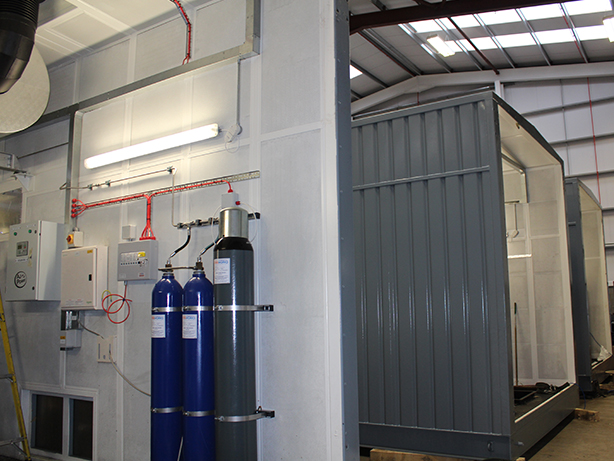 Automatic water mist fire protection system in each acoustic enclosure.
