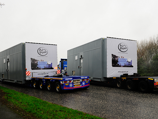 Gensets leave the AJ Power factory.