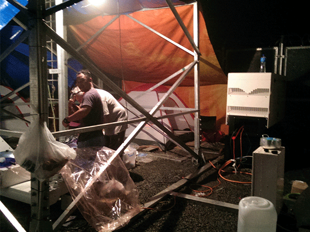 Stephen and the team camped close to the generating set...inside a LOCKED compound.